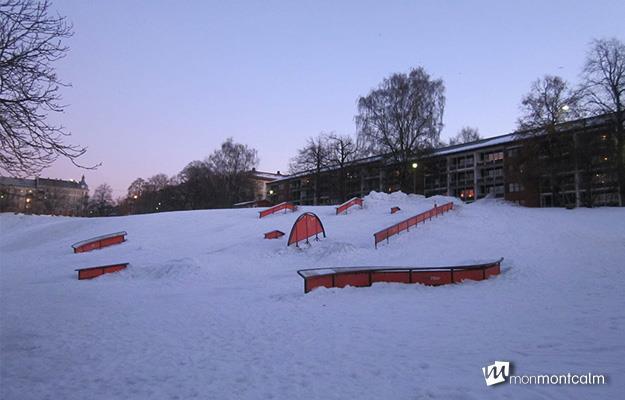 Des modules de glisse sont installés chaque hiver dans le parc Grunerhagen à Oslo.