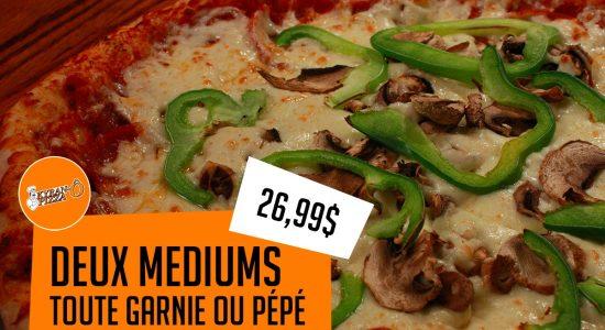 2 médiums pour 26,99$   Kyran-O-Pizza
