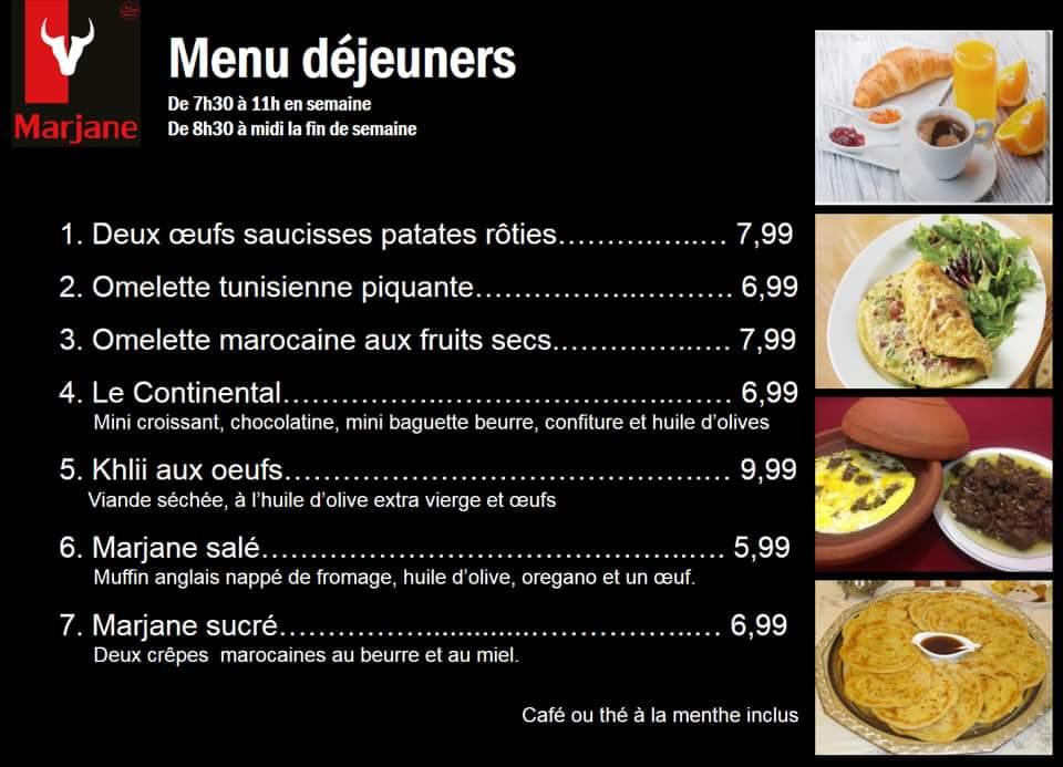 Nouveauté : Menus déjeuners   Marjane   Boucherie – Épicerie – Traiteur