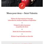 Menu pour deux – Saint-Valentin | Moulins La Fayette (Les)