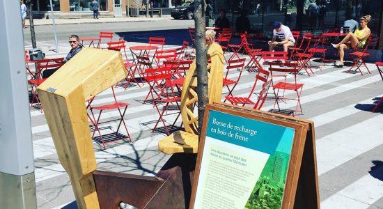 Borne de recharge à motricité humaine | SDC Montcalm – Quartier des arts de Québec