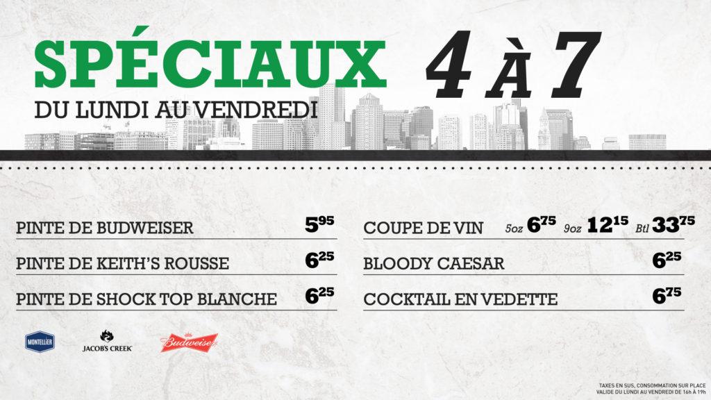 Spéciaux 4 à 7 | Blaxton Cartier – Restaurant Pub et Grill
