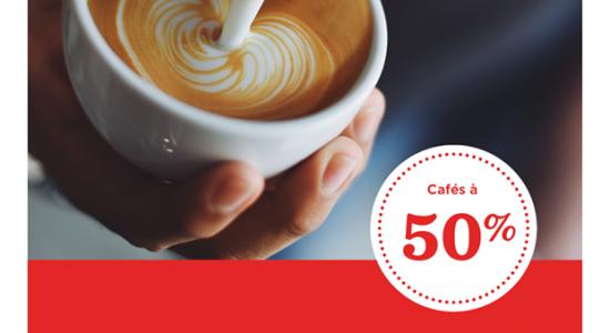 Tous nos cafés offerts à 50% de rabais jusqu'à midi sur semaine | Moulins La Fayette (Les)