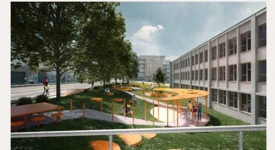 Une place publique devant l'école Perrault - Monmontcalm