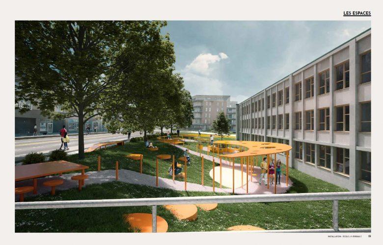 Une place publique devant l'école Perrault | 16 février 2021 | Article par Monmontcalm