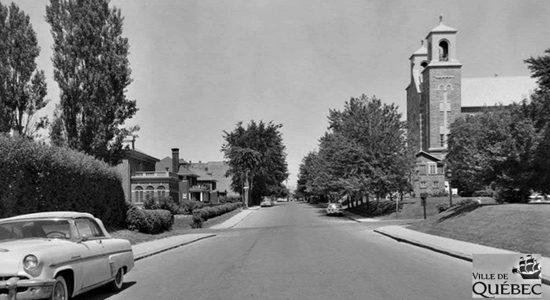 Montcalm dans les années 1960 : rue Père-Marquette et église des Saints-Martyrs-Canadiens - Jean Cazes