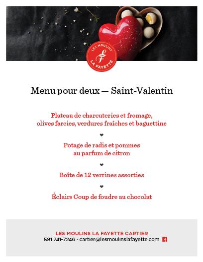 Menu pour deux – Saint-Valentin   Moulins La Fayette (Les)