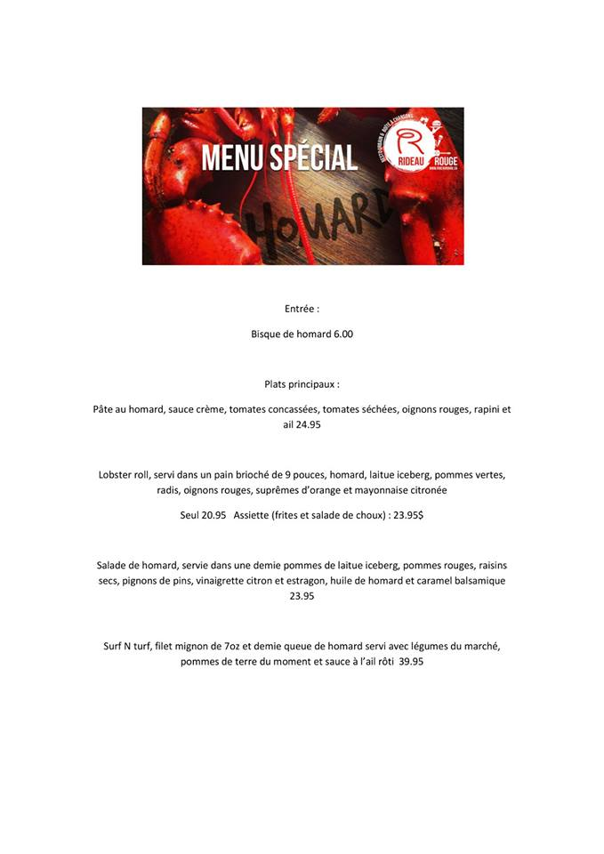 Menu spécial homard | Rideau rouge