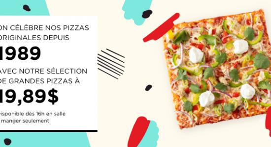 Sélection de grandes pizzas à 19,89$ & Liste de lecture Spotify «Spécial 30 ans»   Piazzetta Cartier (La)