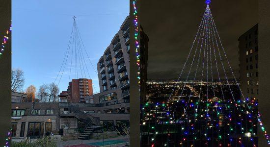 Un arbre de Noël géant se dresse au Manoir Manrèse - Suzie Genest