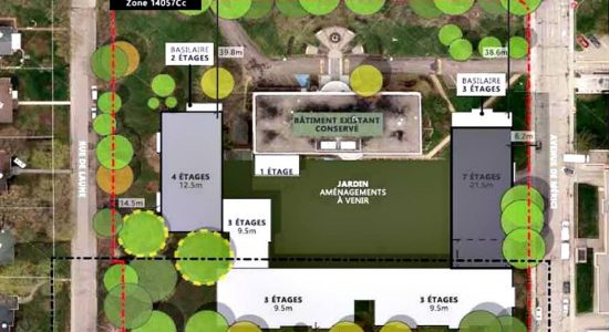 Vue aérienne du projet sur la Grande-Allée.