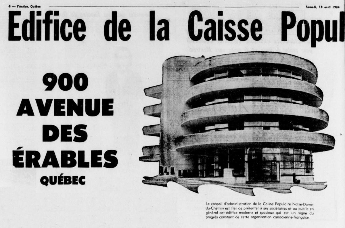 Annonce de l'inauguration de l'édifice de la Caisse populaire Notre-Dame-du-Chemin, 1964